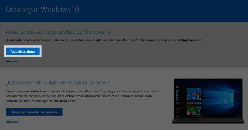 Usar asistente de actualización para descargar e instalar la actualización de mayo de 2020 de Windows 10