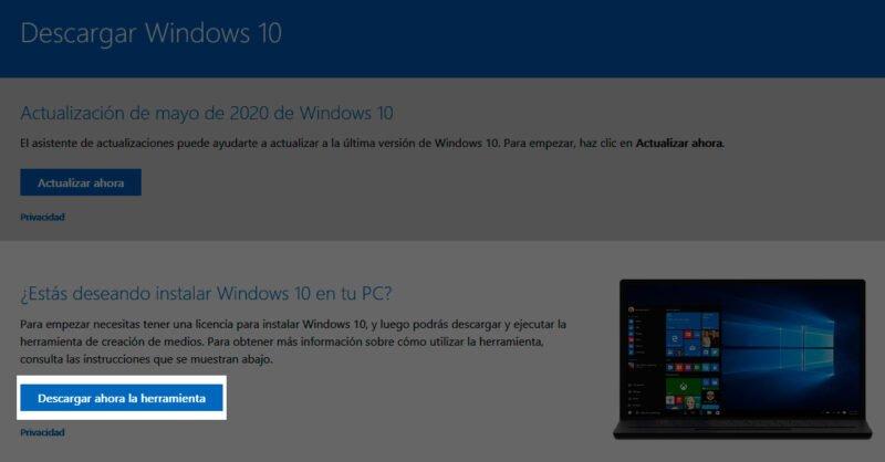 Usar Media Creation Tool para descargar e instalar la actualización de mayo de 2020 de Windows 10