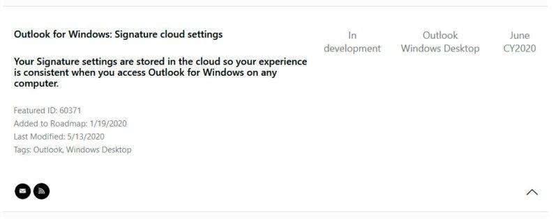 Hoja de ruta: firma en la nube en Outlook