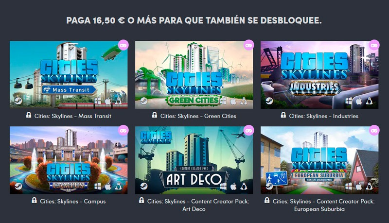 Paga 16,5 o más y lleváte además de Cities: Skylines, la mayoría de las grandes expansiones lanzadas hasta la fecha