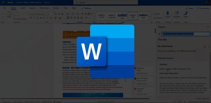 Word Online nuevo buscador con IA