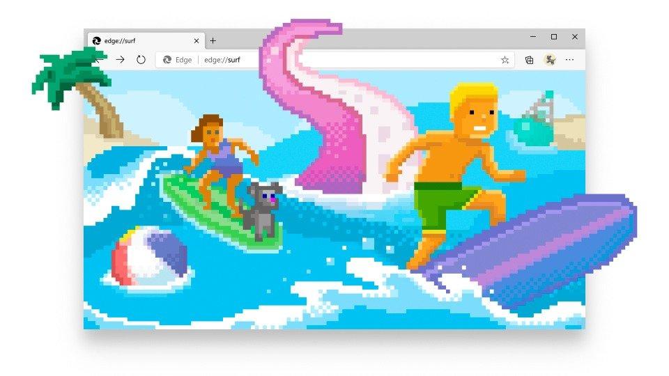 Juego de surf Microsoft Edge