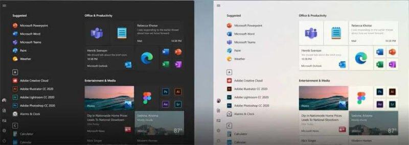 Nuevo menú inicio Windows 10 21H1 tema oscuro y claro