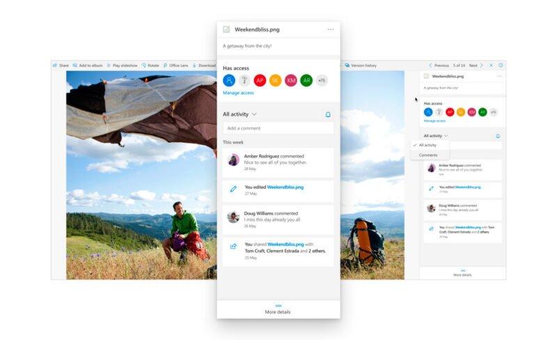 Panel de detalles de tu fichero en OneDrive