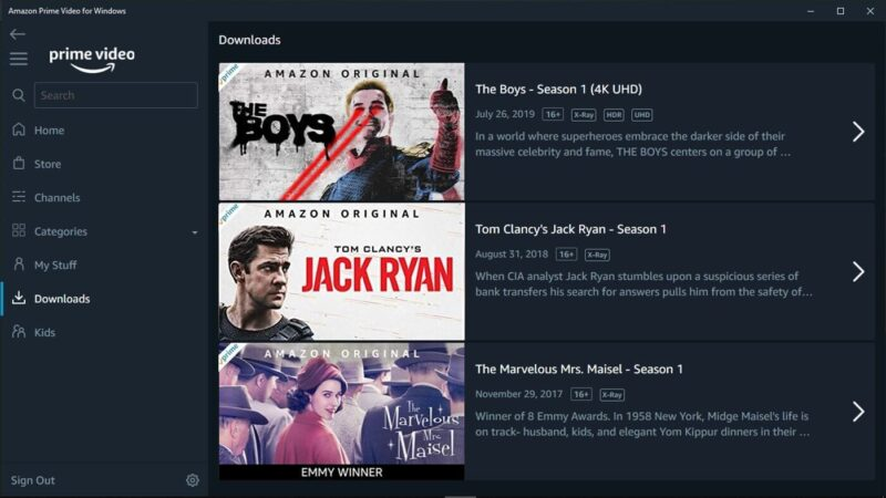 Un vistazo a la app de Amazon Prime Video para Windows 10