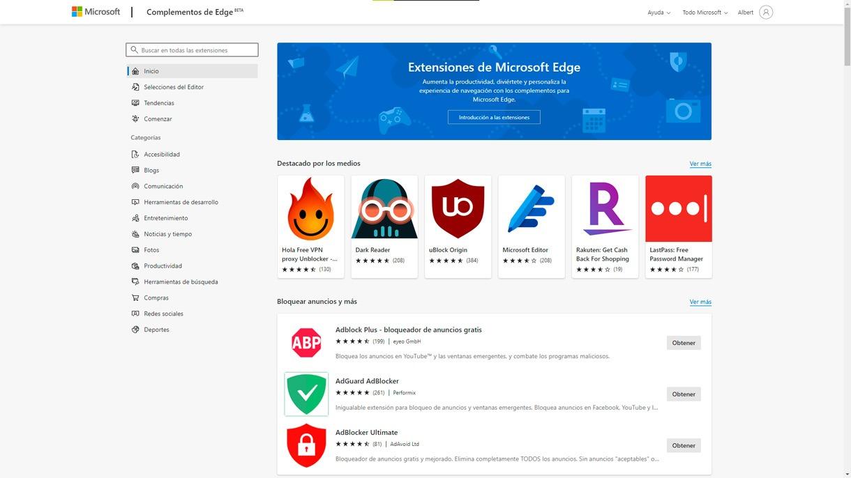 Nueva Web de extensiones para Microsoft Edge