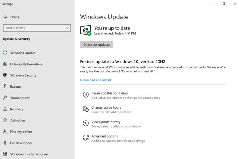 Windows 10 20H2 en el canal-Beta con la Build 19042.330