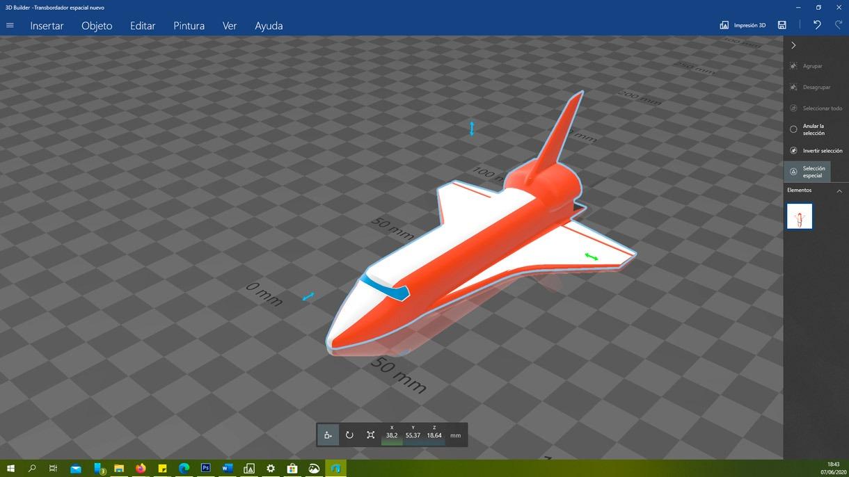 Avión realizado con 3D Builder