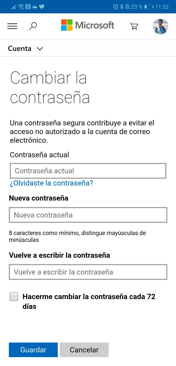 Cambiar contraseña desde Microsoft Authenticator