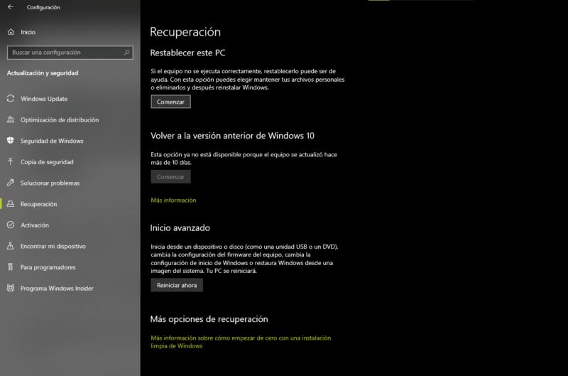 Comienzo de cero en Windows 10 May 2020 Update (versión 2004)