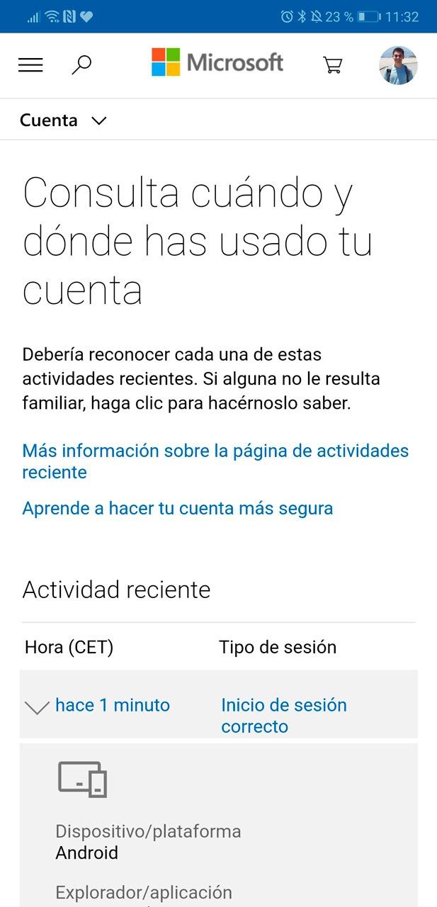 Consulta cuándo y dónde has usado tu cuenta en Microsoft Authenticator