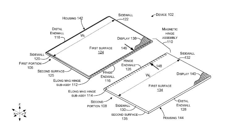 Patente de dispositivo plegable con bisagra magnética
