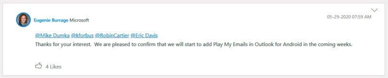 Outlook para Android recibirá en pocas semanas Play My Emails con Cortana