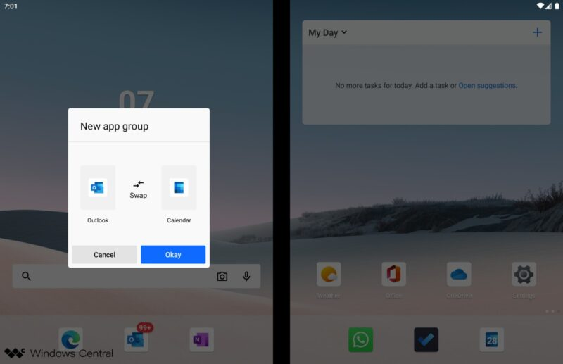 Grupos en Microsoft Launcher en Surface Duo