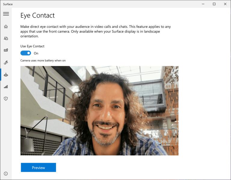 Activa el contacto visual en Surface Pro X a través de la aplicación Surface.