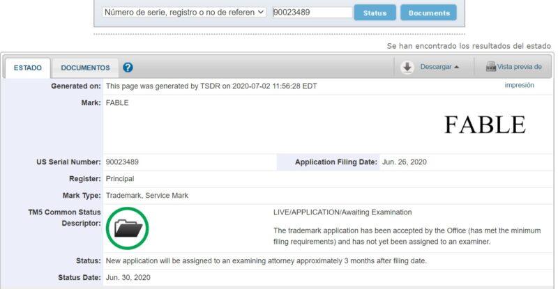Nuevo Fable registrado en la oficina de patentes