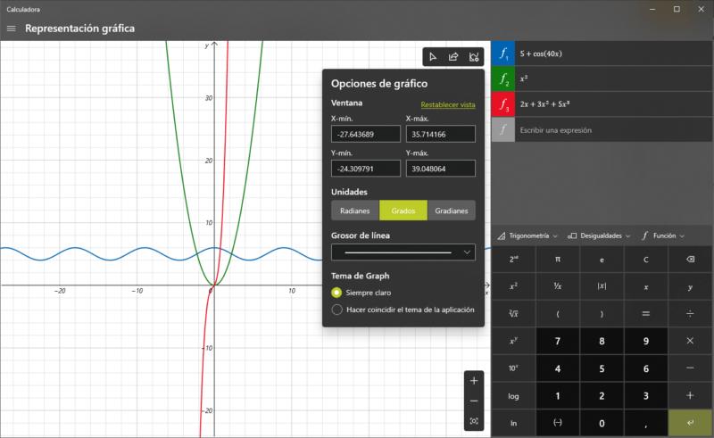 Representar gráficos con la Calculadora de Windows 10 (1)