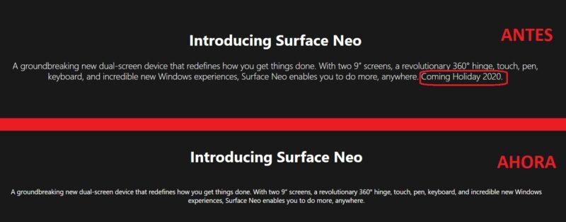 """La web de Microsoft """"confirma"""" el retraso del Surface Neo"""