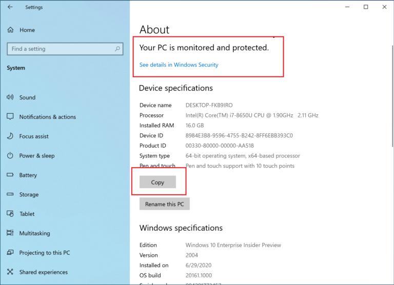Nuevas opciones en Acerca de en la Configuración de Windows 10 20H2 (Build 19042.421)