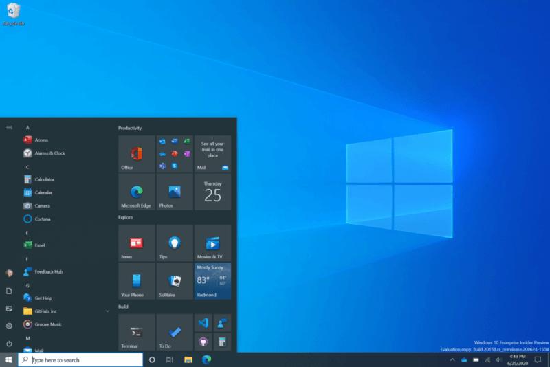 Nuevo menú inicio en la Build 20161 de Windows 10 (tema oscuro)