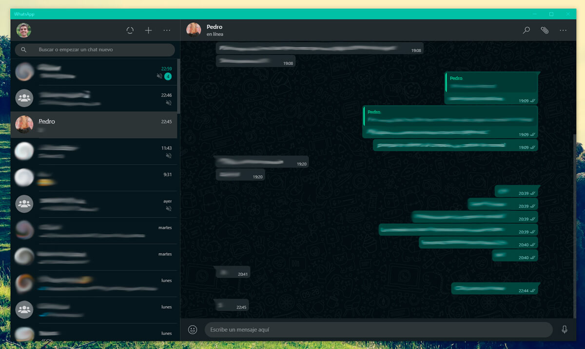 WhatsApp Desktop en Windows 10 (modo oscuro)