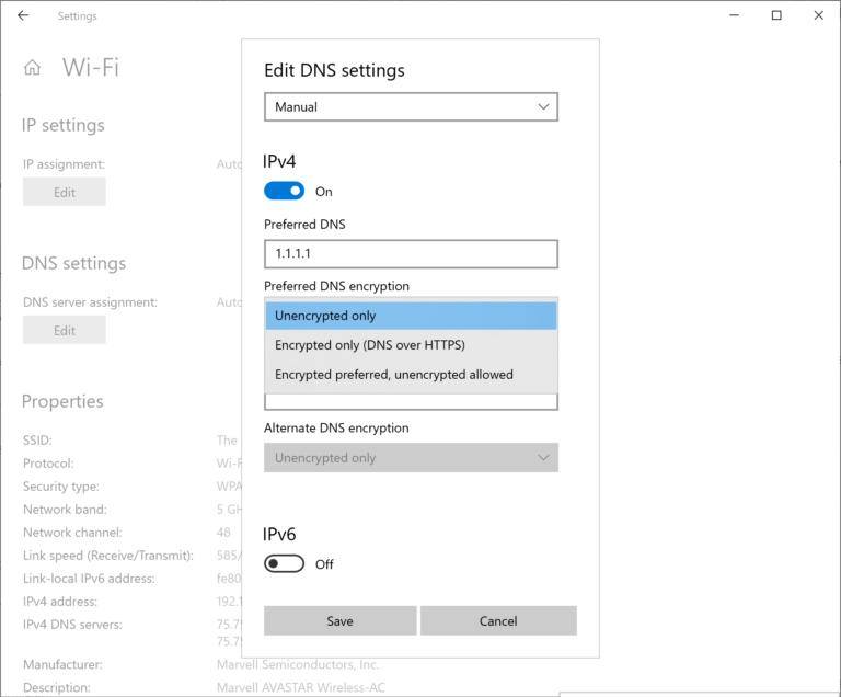 La nueva ventana emergente Editar configuración de DNS de red en Configuración.
