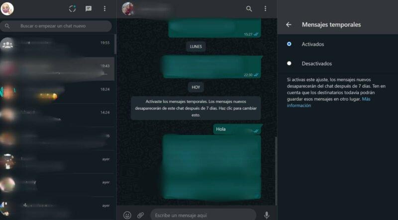 WhatsApp Web ya permite habilitar los mensajes temporales