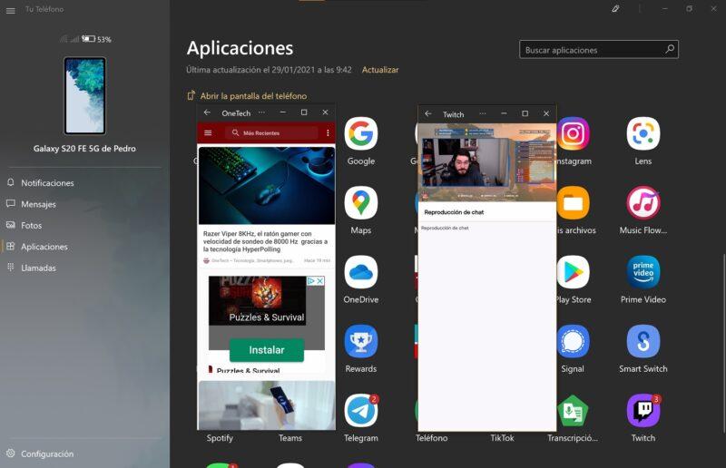Tu Teléfono ya permite iniciar varias apps Android al mismo tiempo