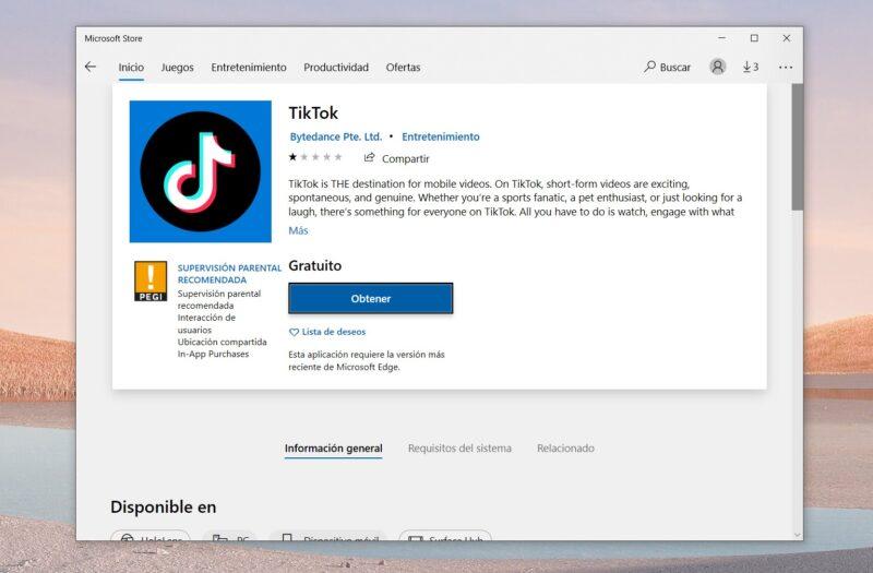 TikTok aparece en la Microsoft Store como Web App